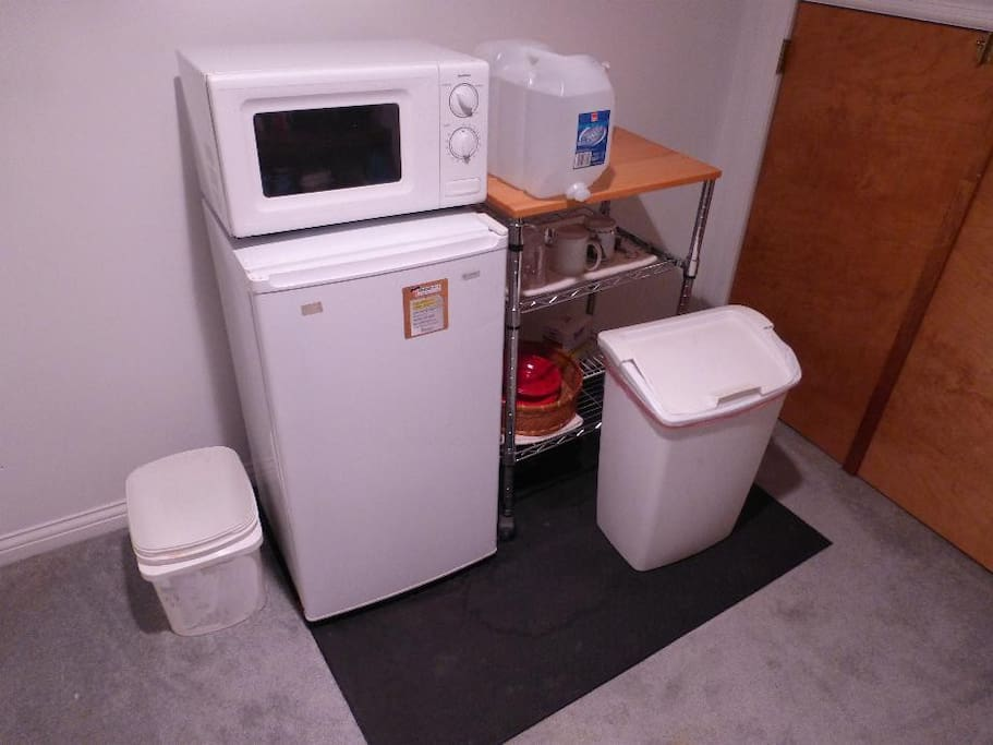 Extra room with dorm-fridge, microwave, coffee maker, electric kettle.