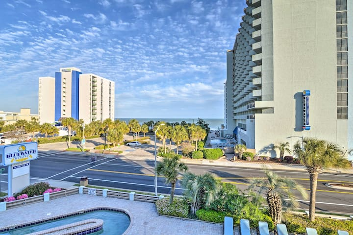 The unit features pool and ocean views, 1 bedroom, 1 bathroom, and room for 4.