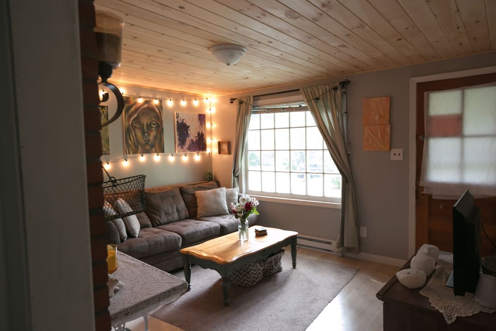 Cozy living room with wood plank ceiling