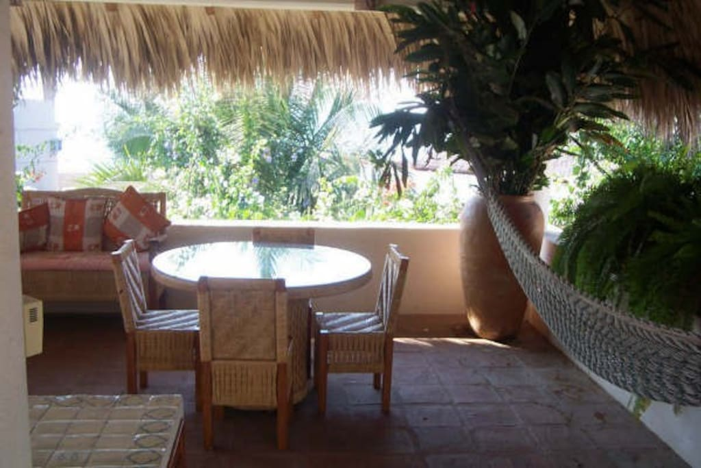 Outdoor palapa lounge