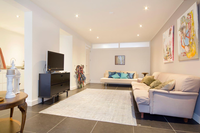 Bright livingroom with garden/ patio
