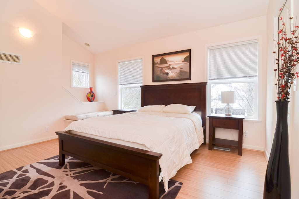 Beautiful new hardwood flooring in bedroom