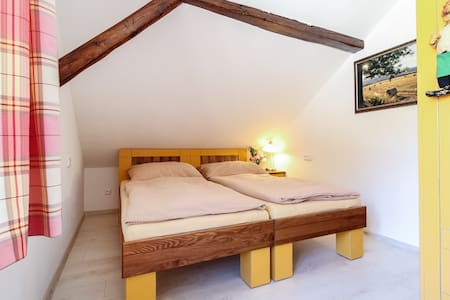 Yellow room with double bed near Cesky Krumlov
