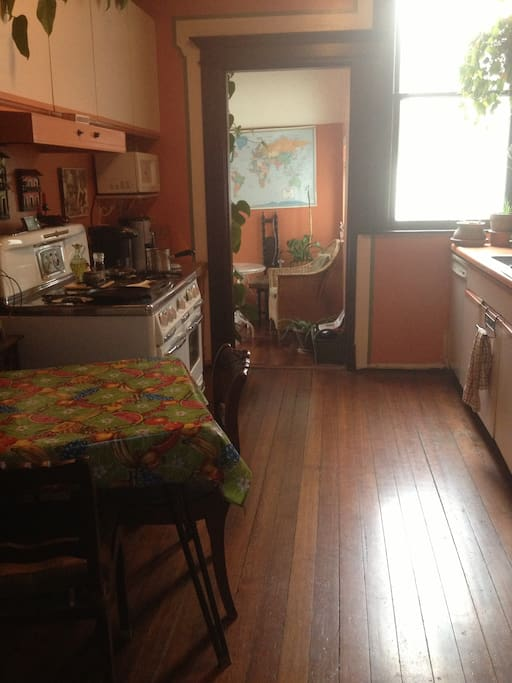 Original Hardwood Floor,   Enjoy Use of the Kichen & Classic  1940'  Gas Stove .