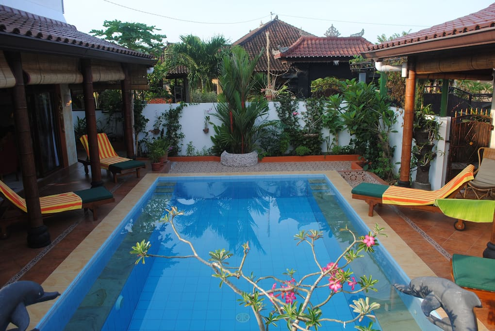 Pool separating the Guesthouse and the Main house. Pool Suite (Guesthouse + Main house): 3 bedrooms, 6 sleeping has its own listing