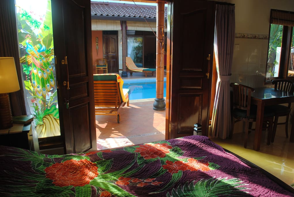 Easy access to terrace and pool from Guesthouse...just open the door.