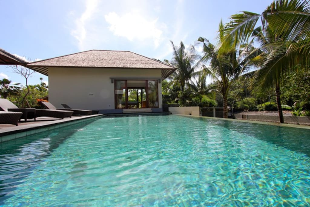 Guest house as viewed from swimming pool.