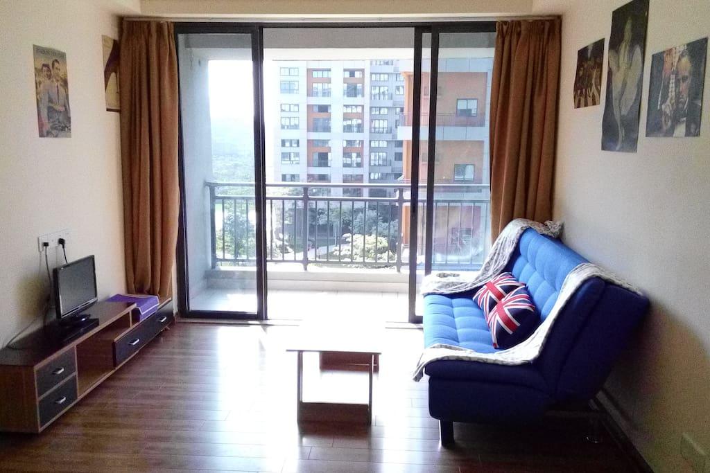 客厅,电视,电视柜,茶几和沙发床