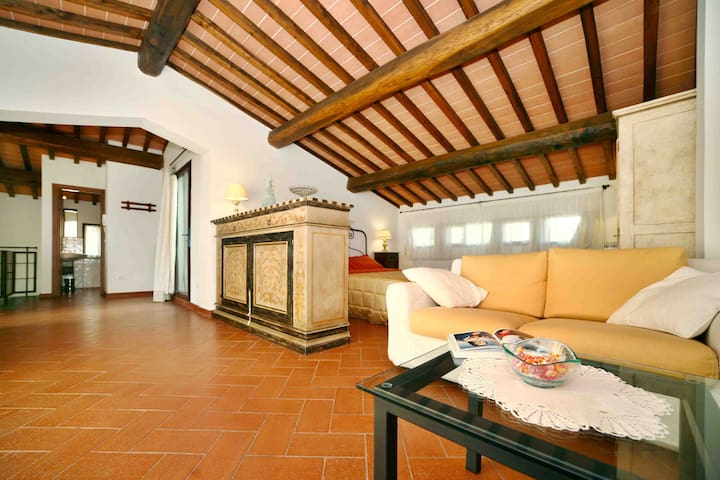 Chianti Penthouse with panoramic View & Pool - San Donato In Poggio - Wohnung