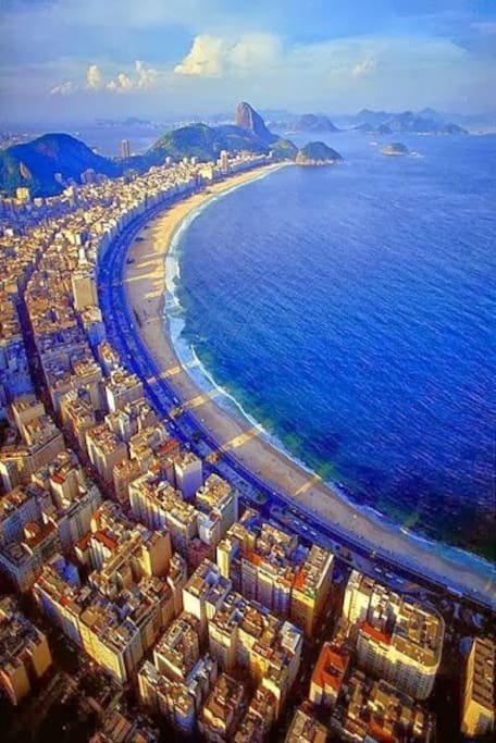 Overview of Copacabana beach - room is located near bottom of picture on the Ipanema side