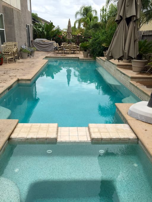 Full length pool from the spa. Available by request only. No lifeguards on duty.