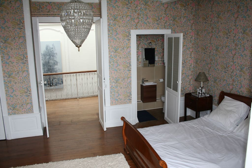 'Les Oiseaux' room with original wallpaper and compact shower room