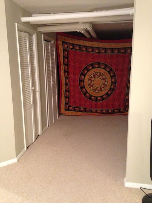 Extra space in master bedroom for air mattress- we have a queen size we can set up for you.