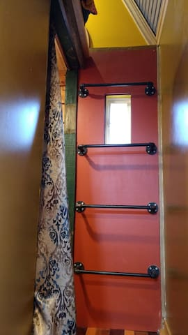 Climb this steep ladder to the sleeping loft