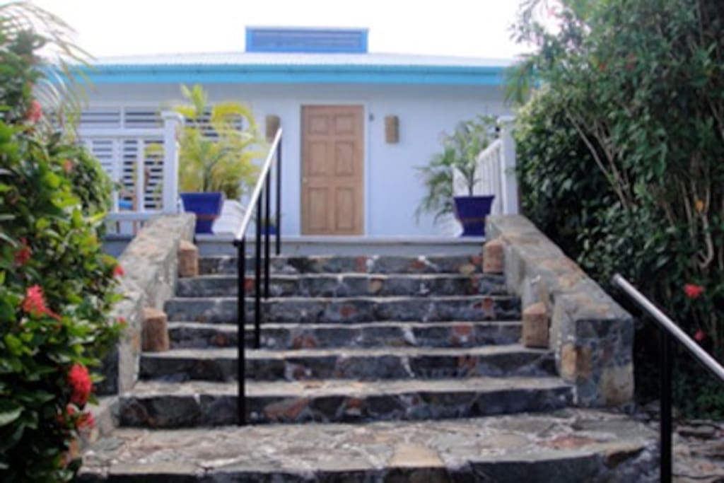 Turn around as you walk up these stone steps to see the breathtaking  view of the Caribbean Sea with St Thomas in the background.