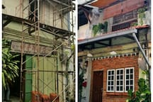 main entrance-  before & after transformation
