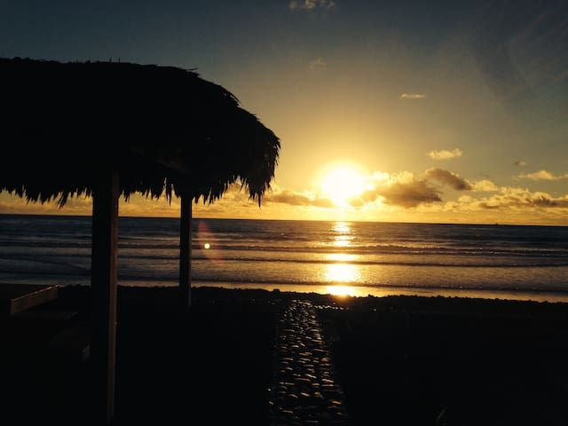 Sunset from the common palapa area