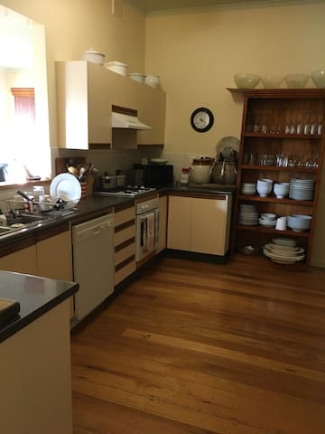 The kitchen is spacious and friendly. Tea, coffee and milk provided. Feel at home in the well set-up kitchen. All mod-cons.