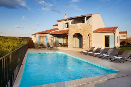Charming detached villa with private pool and beautiful view, near Buje