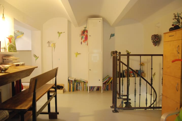 Sleeping room 4, children's room, with two normal sized beds, but due to the low ceilings it is mostly fit for children.