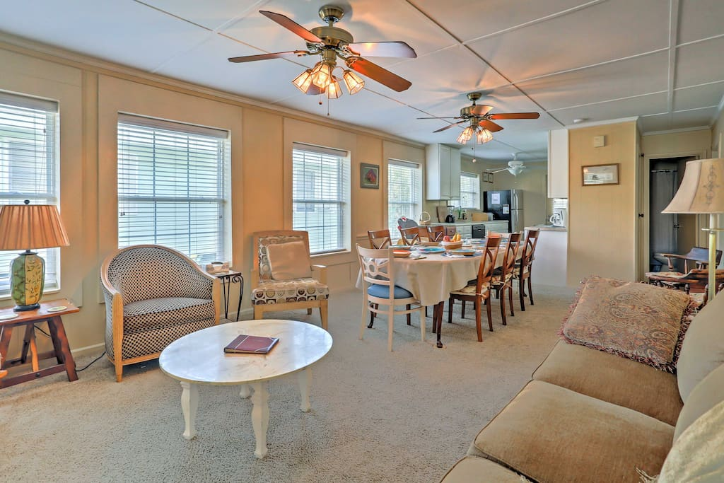 The spacious 2,600-square-foot house sleeps 11 and has comfortable furnishings.