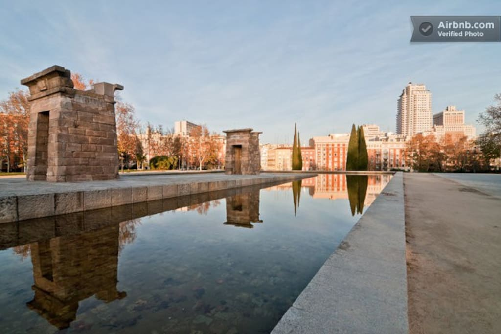 Templo de Debod, a short 10 minutes walk from the house.
