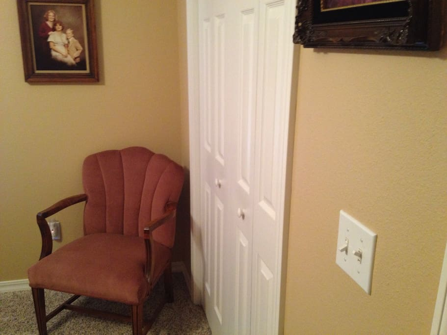 Closet and sitting area.