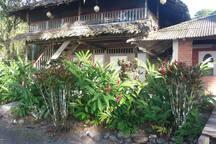 Cabañas en madera con techo tradicional hoja de paja.