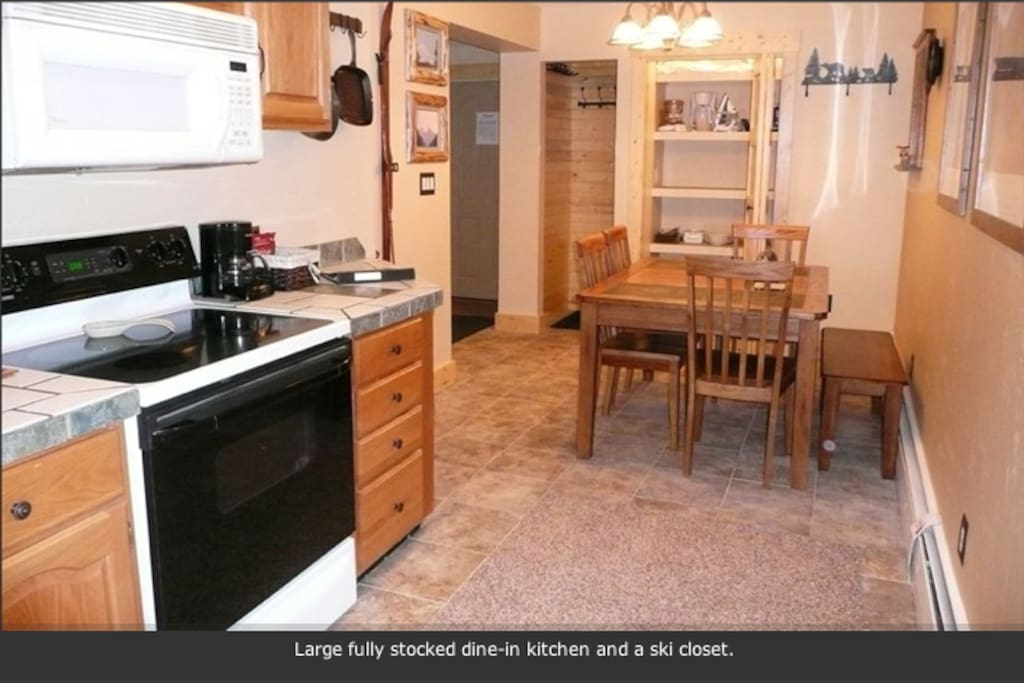 Full kitchen and dining room - will seat up to 6 guests.