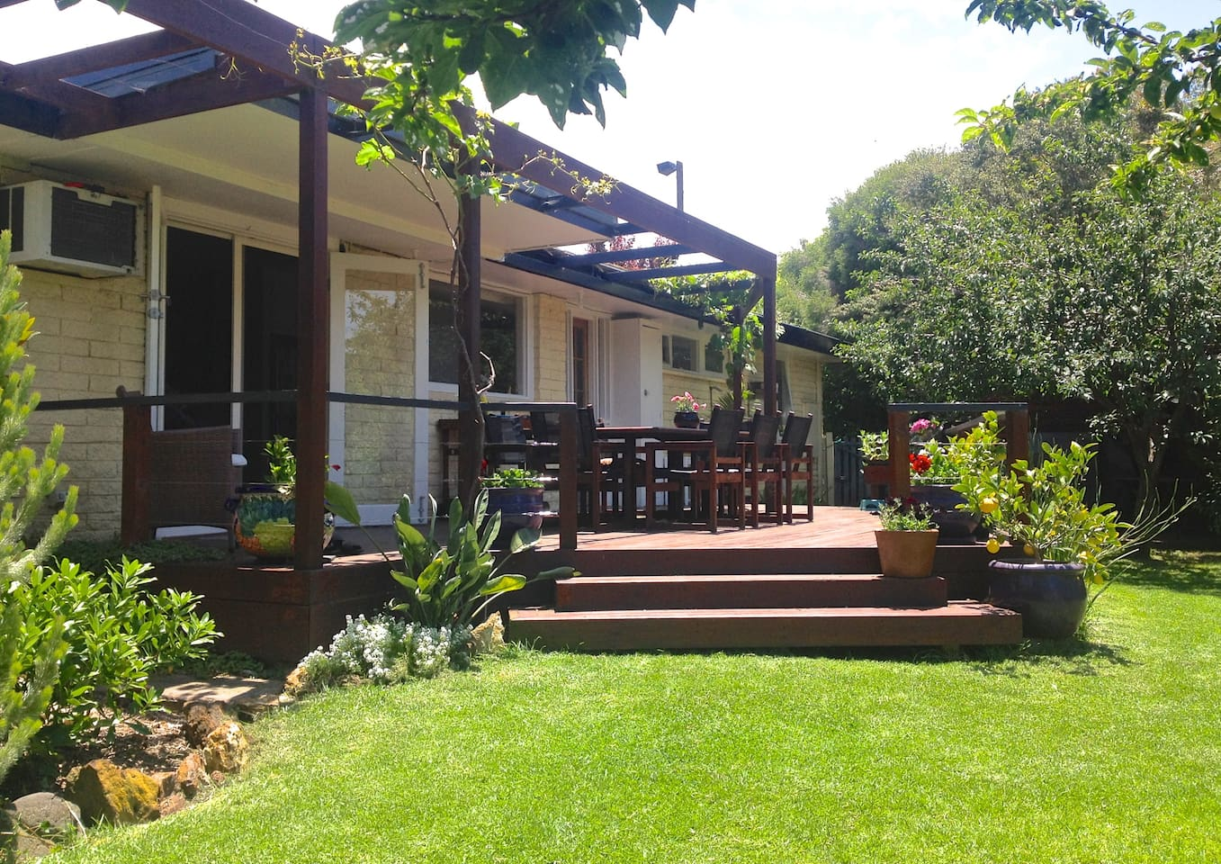 A sunny balcony, shaded with grape vines, overlooks a spacious lawn and established garden.