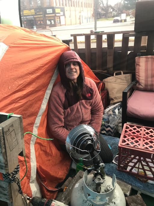 This is me, Lisa Walinske.This is the tent you'll be sleeping in.