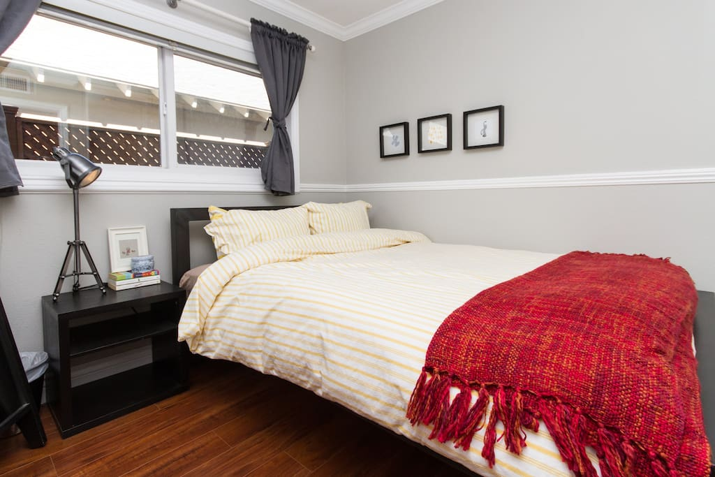 This is the guest room which has the Queen size bed. For guests that are alone, we prefer to place you in our other listing with the Full size bed.