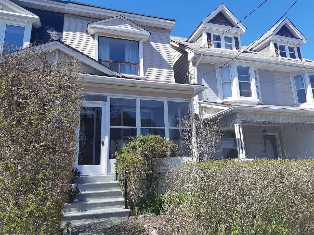 Front of semi-detached home, faces south