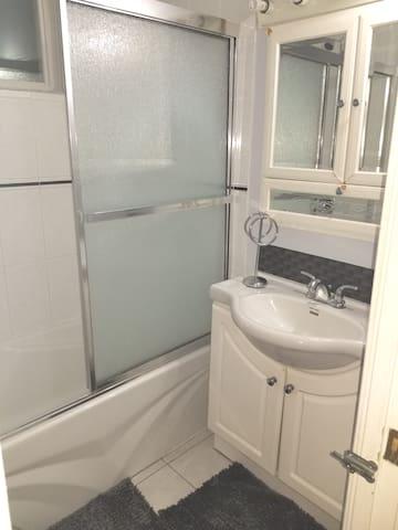 Sink & Shower in Bathroom