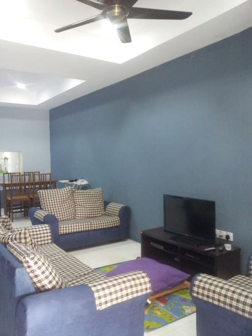 Living room area and working table, Fully airconditioned with ceiling fan