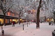A snowy Cheltenham town centre.