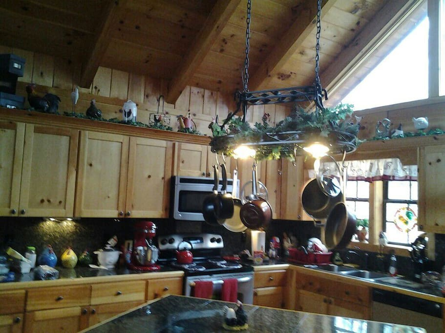 Fully equipped granite counter kitchen, decorated in country chicken theme