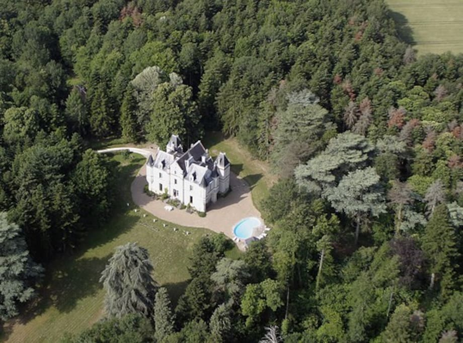 Ariel shot of the grounds and woods