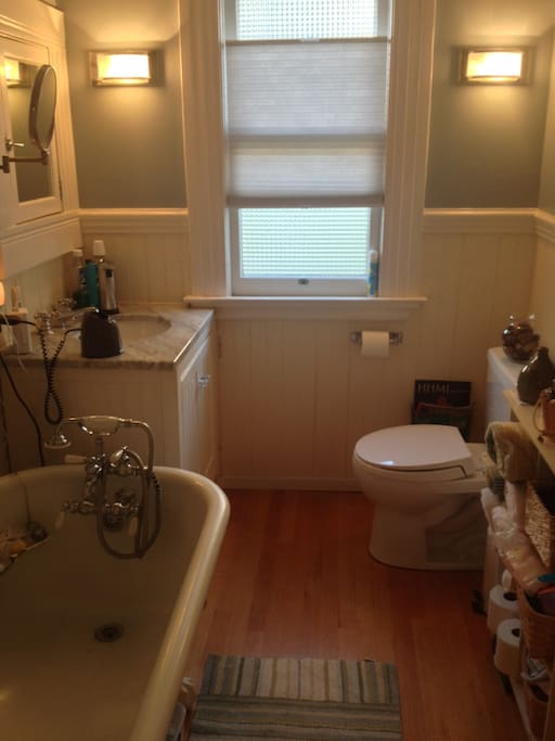 Renovated bathroom with claw foot tub.