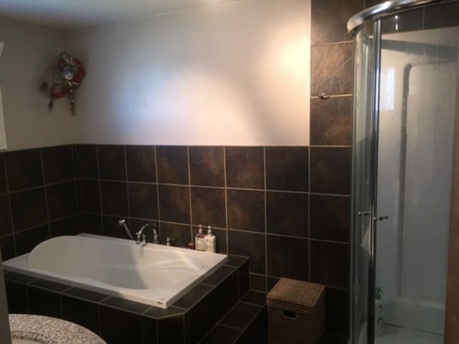 Great luxurious bathroom with soaker tub and separate shower