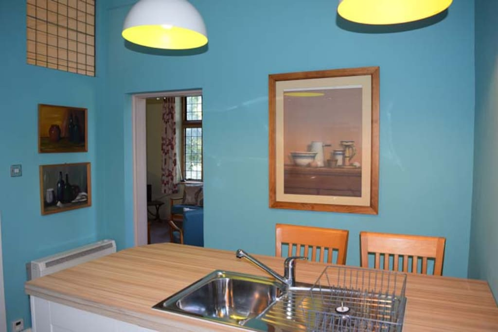 Funky blue kitchen with Habitat down lights