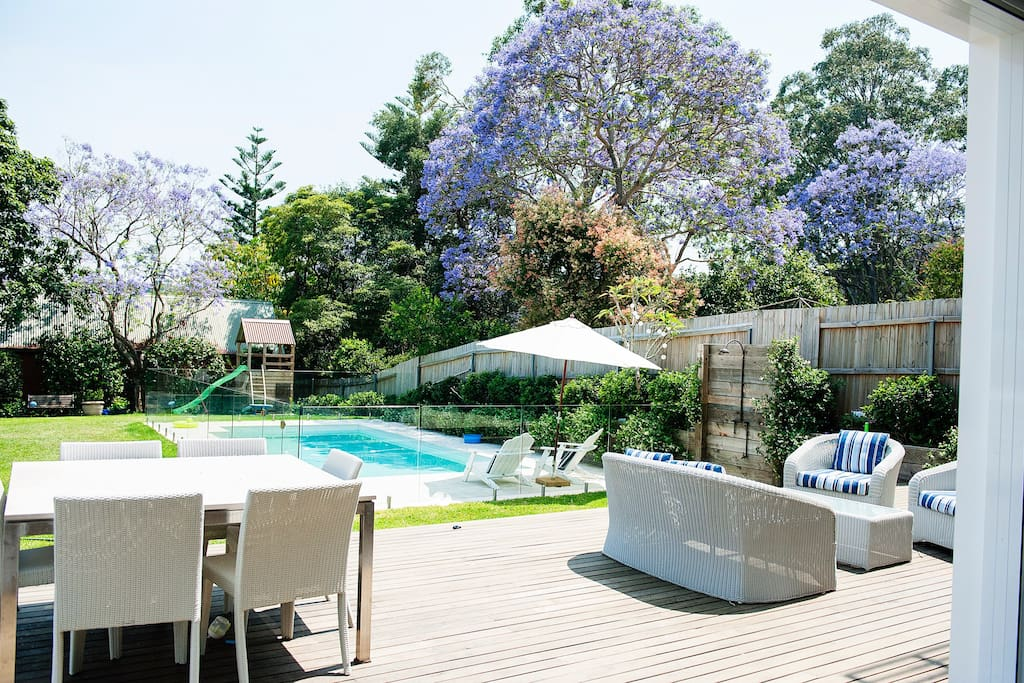 Large back garden, with a beautiful pool, large deck, trampoline & cubby house for the kids.