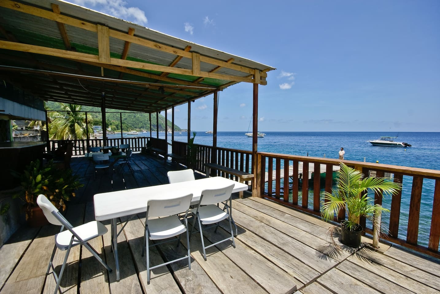 Ocean front terrace for relaxation, recreation, restaurant and bar