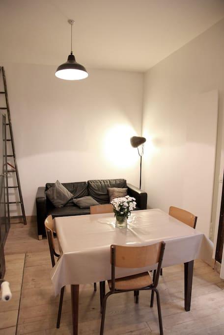Armoire penderie. Le canapé en cuir se déplie facilement en lit 140x190 très confortable.