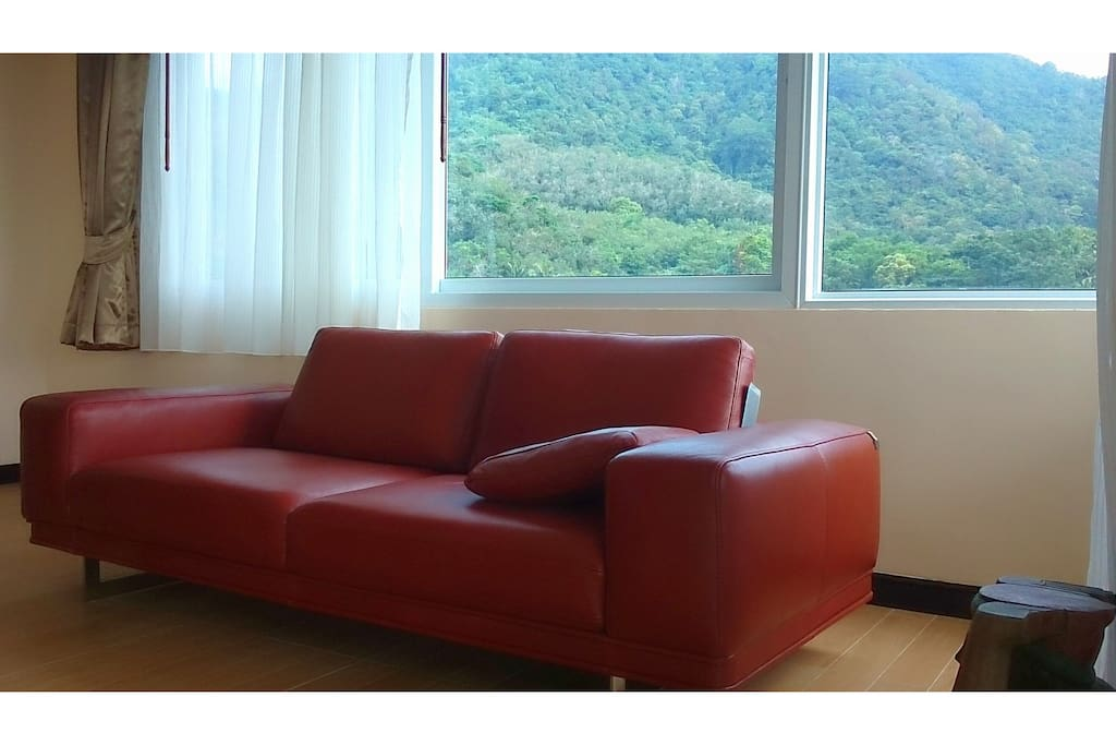 Living room with 270 degree views of jungle. Very comfy couch imported from Europe sits three.