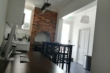 Downstairs common area and kitchen