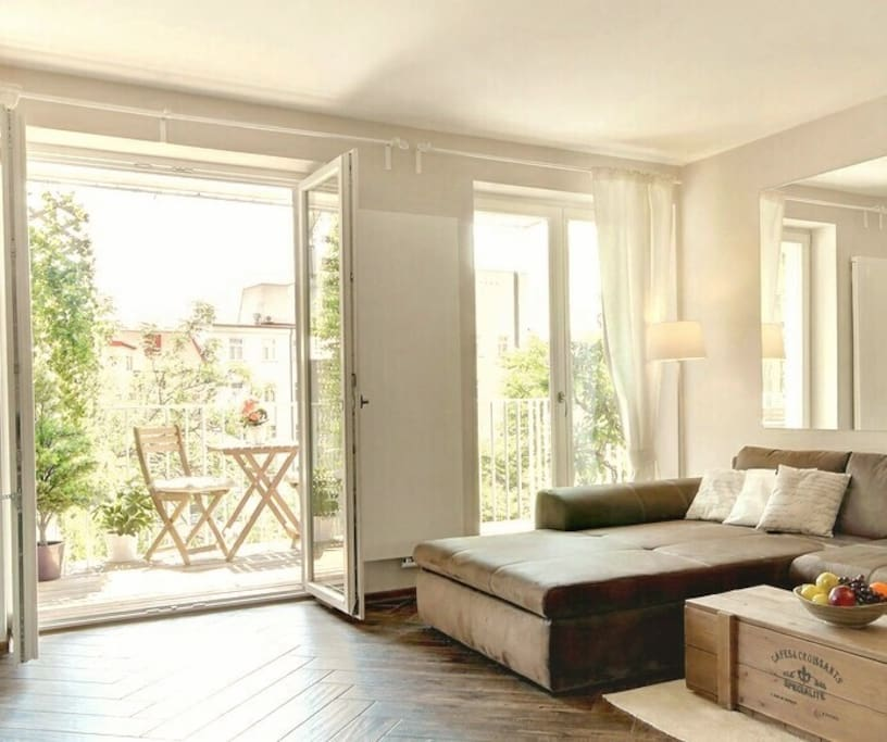 Very bright living room with balcony, facing the courtyard..