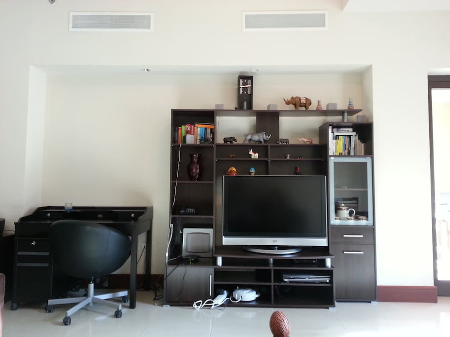 Television with cable channels and internet are provided.