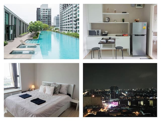 City&Pool view Close to Airportlink Station WIFI - Bangkok - Ortak mülk