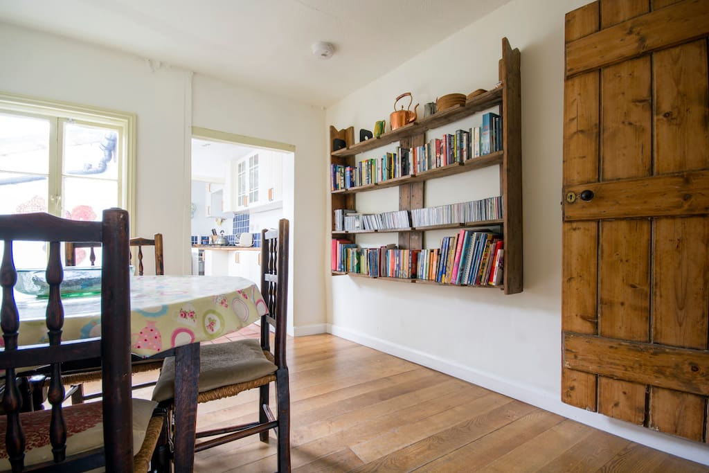 Dining area with music and books